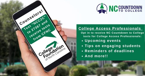 NC Countdown to College Counselor Text Alerts